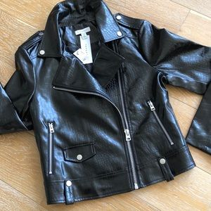 Topshop Croc Embossed Faux Leather Moto Jacket NWT